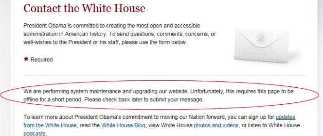 Screenshot der Webseite des Weissen Hauses während der Marihuana Aktion